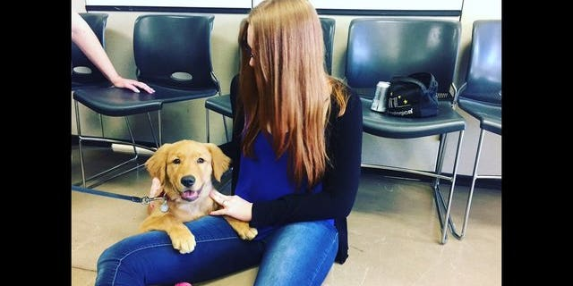 Raine and his new owner, Heather Frazier (Fox5/Twitter/@FOX10Danielle)