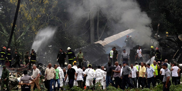 The site of where a Boeing 737 plummeted into a field with more than 100 passengers on board in Havana, Cuba on Friday.