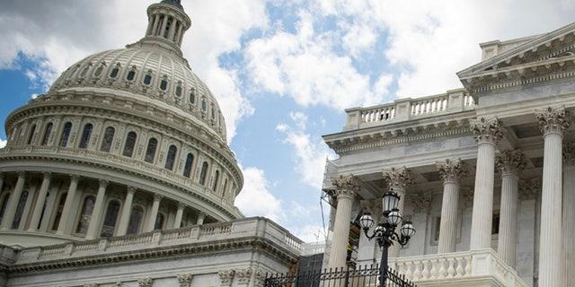 Democratic senators held a news conference outside the Capitol Building on June 27, 2017 against Republican Senate health care bill.