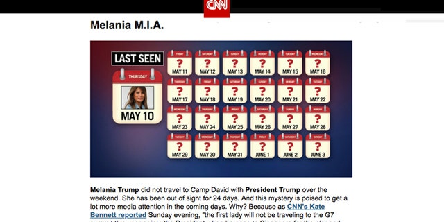 """CNN's """"Reliable Sources"""" newsletter featured a graphic detailing the time since the First Lady's last public appearance headlined, """"Melania M.I.A."""""""