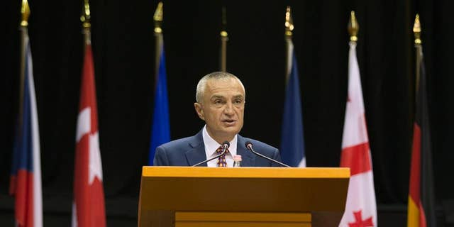 FILE - In this Monday, May 30, 2016 file photo, Albania's Parliament Speaker Ilir Meta speaks at the NATO Parliamentary Assembly Spring session in Tirana. The speaker of the Albanian Parliament is expected to be elected as the country's new president Friday, April 28, 2017 in a parliamentary vote. Speaker Ilir Meta's nomination has been formally supported by the main left-wing governing Socialist Party of Prime Minister Edi Rama. (AP Photo/Hektor Pustina, file)