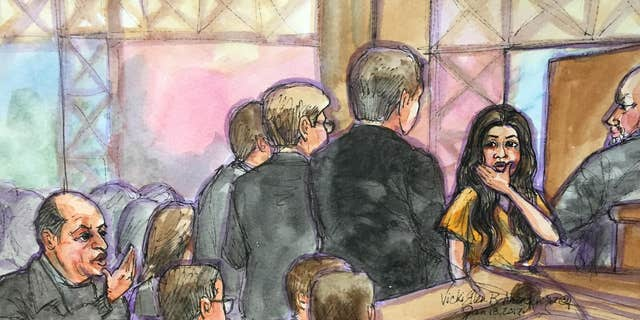 Noor Salman, right, and her uncle, left, blowing kisses to each other in court.