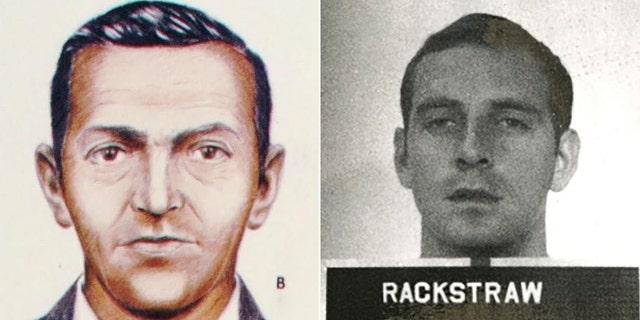 FBI sketch of DB Cooper along side Robert Rackstraw.