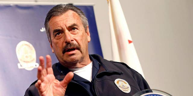 Then-Los Angeles Police Chief Charlie Beck speaks at a news conference in Los Angeles, March 21, 2017, (Associated Press)