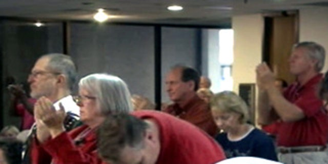 a Hillsborough County School Board meeting in Florida on Tuesday where a group was protesting the presence of an Islamic organization in public schools.