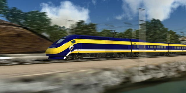 FILE: Feb. 13, 2013: A computer render of California's proposed high-speed train.