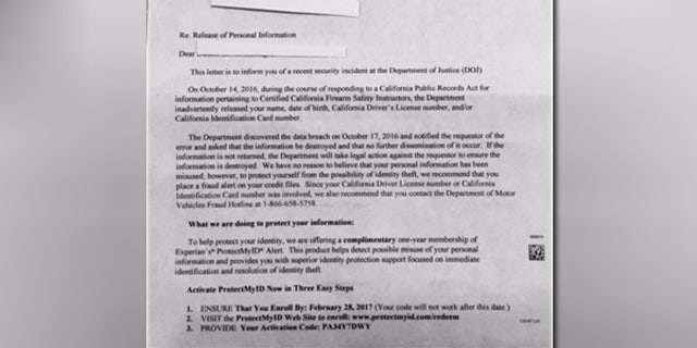 Nearly 4,000 gun safety instructors in California received this letter by the DOJ two months after the breach was discovered.