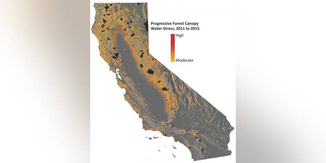 This image shows progressive water stress on California's forests. (Courtesty of Greg Asner