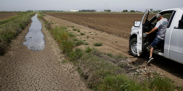 Jeff Thengvall leaves after releasing irrigation water to provide water for the rice fields in Richvale, Calif.  (AP Photo/Jae C. Hong)