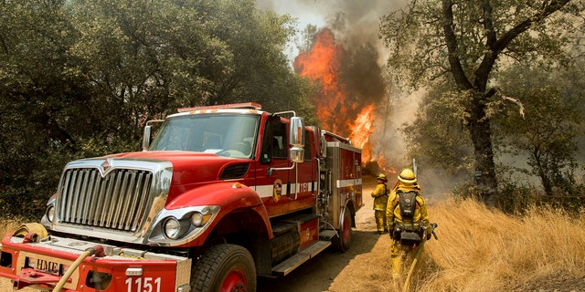 Firefighters battle a wildfire near Oroville, Calif., on Saturday, July 8, 2017.