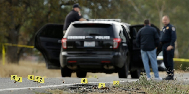 Yellow tags mark where bullet casings found at one of the scenes of a shooting spree at Rancho Tehama Reserve, near Corning, Calif., Tuesday, Nov. 14, 2017