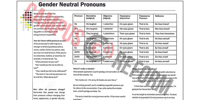 "Kennesaw State University in Georgia has a pamphlet that lists gender neutral pronouns as ""ne,"" ""ve,"" and ""ey."""