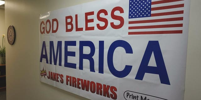 A poster from Jake's Fireworks now hangs in Sen. Jerry Moran's Kansas office.