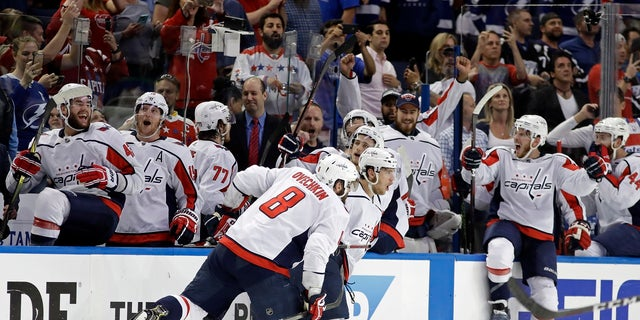 The Washington Capitals celebrate their Game 7 Eastern Conference Final victory Wednesday night over the Tampa Bay Lightning.