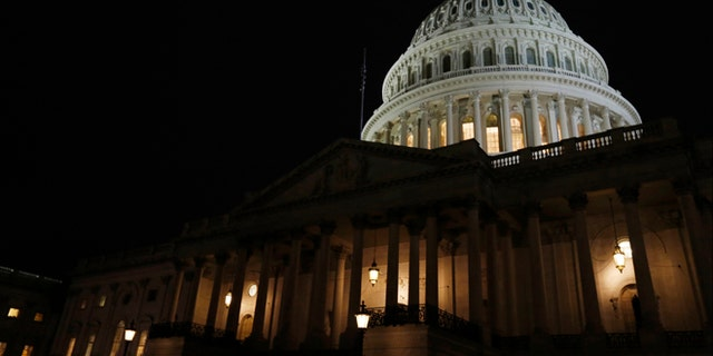 Jan. 28, 2014: The Capitol building is seen before President Obama delivers his State of the Union address in front of Congress on Capitol Hill in Washington.