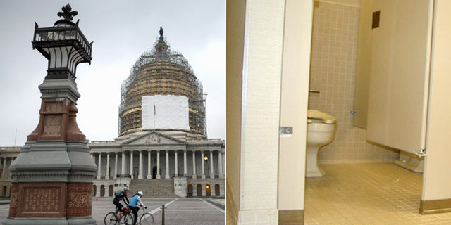 At left: The U.S. Capitol; At right: Bathroom file photo