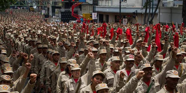 """The Bolivarian militias were first created by the late Hugo Chavez to assist the armed forces in the defense of his """"revolution."""""""