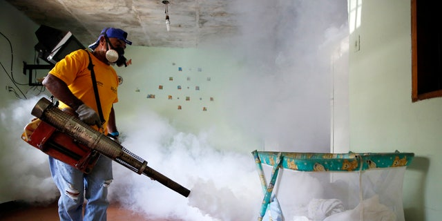 A worker from the municipality of Sucre carries out fumigation to help control the spread of Chikungunya and dengue fever, which are caused by viruses carried by mosquitoes, in the Petare slum district of Caracas September 22, 2014. REUTERS/Carlos Garcia Rawlins