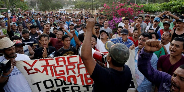 Central American migrants take part in a march along a street in the city as they take a pause from traveling in their caravan, during their journey to the U.S., in Matias Romero, Mexico April 3, 2018.