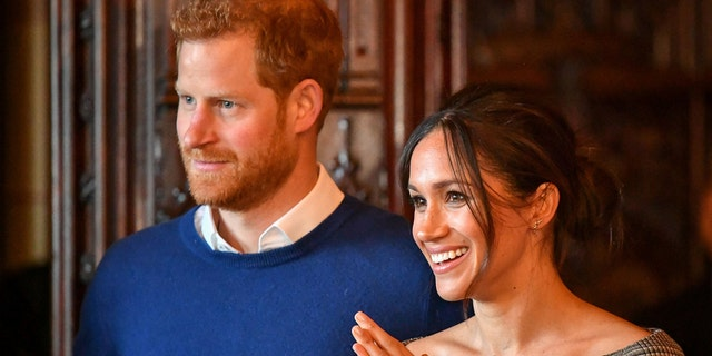 Prince Harry and Markle at Cardiff Castle in Wales, England.
