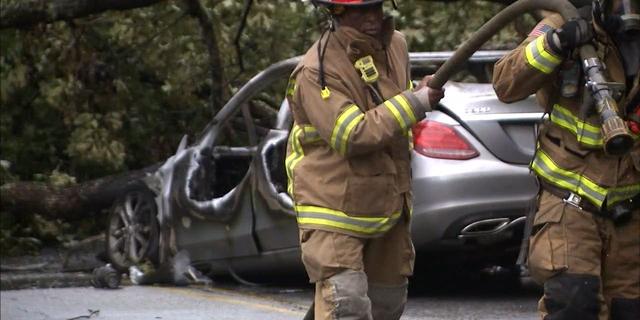 Sam Lenaeus' Mercedes went up in flames.