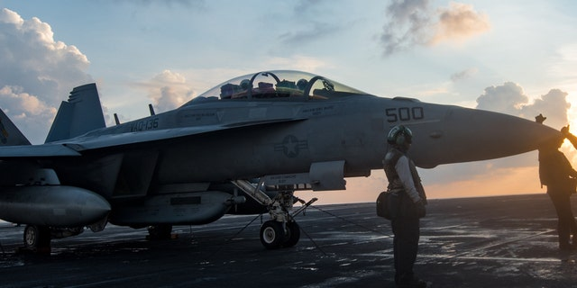 """Sailors assigned to the Electronic Attack Squadron (VAQ) 136 """"Gauntlets"""" prepare an EA-18G Growler for flight on the aircraft carrier USS Carl Vinson (CVN 70)."""