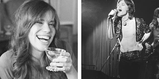 "It was revealed Wednesday Aug. 22, 2018, that a lost Mick Jagger, right, duet with Carly Simon, left, has been found more than 45-years after it was first recorded apparently in 1972, with Jagger and Simon seemingly sitting together at a piano and singing a slow love ballad thought to be named ""Fragile."""