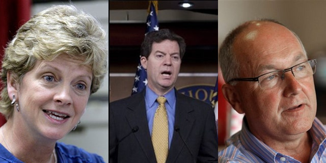 Robin Carnahan, (l), Sen. Sam Brownback, (c), and Rep. Pete Hoekstra, (r), were among the winners and candidates in Tuesday's primaries. (AP)