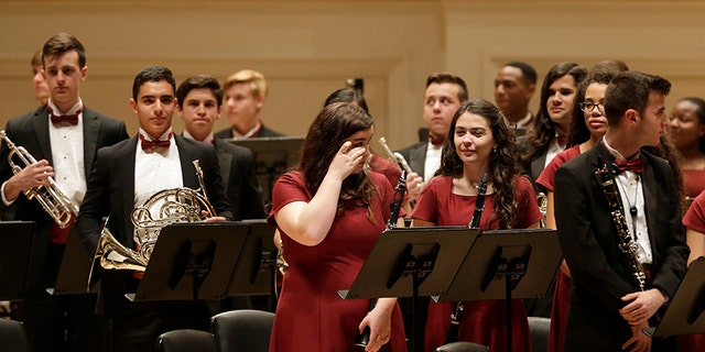 The Marjory Stoneman Douglas High School band performed an emotional concert.