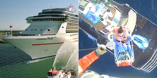 Coast Guard footage showed a woman being rescued from the Carnival Pride by a helicopter crew.
