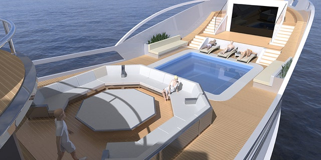 The top deck features a swimming pool and large lounge area.