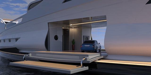 The garage area allows for a car to be parked on display.