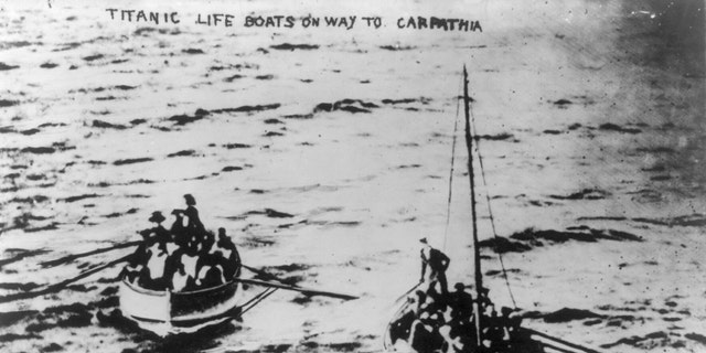 File print - Titanic lifeboats on their approach to a Carpathia following a falling of a Titanic