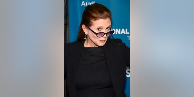 March 22, 2014. Carrie Fisher at the Geffen Playhouse in Los Angeles.