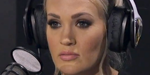 """Carrie Underwood's scar was visible for the first time when she appeared on """"The Bobby Bones Show"""" on April 16."""