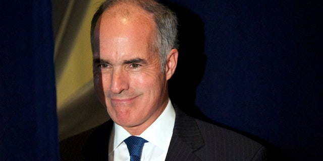"""Oct. 9, 2014: Pennsylvania Senator Bob Casey takes the stage for Democratic challenger for Pennsylvania Governor Tom Wolf at a """"Women for Wolf"""" grassroots rally at the National Constitution Center in Philadelphia. (Reuters)"""