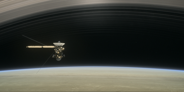 This artist's illustration shows Cassini making one of its final five dives through Saturn's upper atmosphere in August and September 2017.