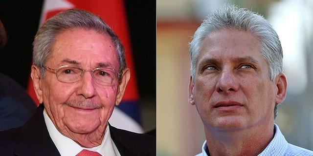 Cuban leader Raul Castro, left; his expected successor, Miguel Diaz-Canel, right.