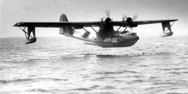 File photo - A PBY-5 making a landing. (Credit: U.S. Navy)