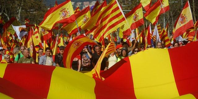 Protesters in Catalonia.