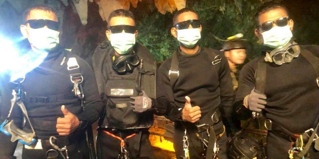 The last four Thai Navy SEALs who came out of the cave after completing the rescue mission of 12 boys and their soccer coach.