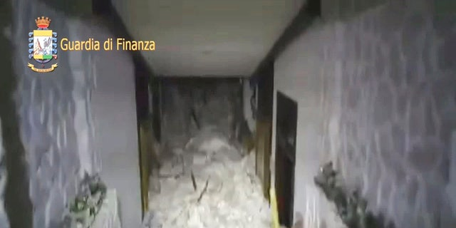 A photo taken from a video shows the snow inside the Hotel Rigopiano in Farindola, central Italy, hit by an avalanche, in this January 19, 2017 handout picture provided by Italy's Finance Police. Guardia Di Finanza/Handout via REUTERS   ATTENTION EDITORS - THIS IMAGE WAS PROVIDED BY A THIRD PARTY. EDITORIAL USE ONLY. - RTSW83F