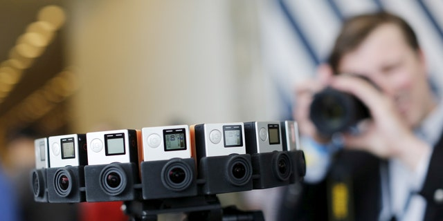 """File photo: A GoPro device featuring 16 cameras, to be used with Google's """"Jump,"""" to provide viewers with 360-degree video, is shown during the Google I/O developers conference in San Francisco, California May 28, 2015. (REUTERS/Robert Galbraith)"""