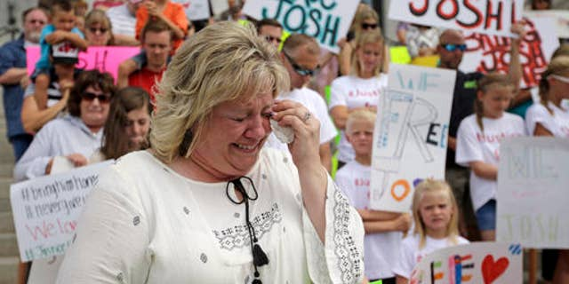 Laurie Holt at a demonstration held for her son's release from a Venezuelan jail.