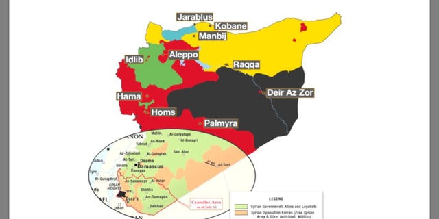 Map of Syria, the southwestern corner showing an area currently holding under a Putin and Trump-brokered ceasefire agreement near the Israeli border.