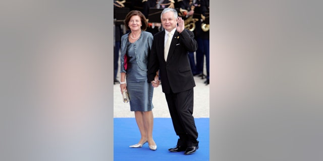 In this Sunday July 13, 2008 file photo, Polish President Lech Kaczynski and his wife Maria attend a formal dinner after a Mediterranean Summit meeting at the Petit Palais in Paris.