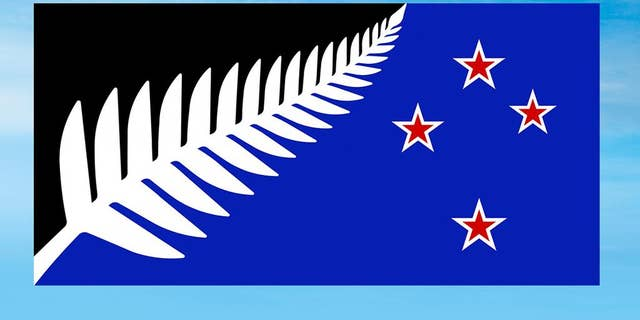 This undated illustration provided by the New Zealand Government shows a proposed new national flag, Silver Fern (Black, White and Blue) by Kyle Lockwood. New Zealanders will find out Thursday, March 24, 2016, whether they will keep the British Union Jack on their flag or replace it with the silver fern after more than 2 million people voted in a nationwide ballot. Voters were asked to choose between their current flag, which has been the national symbol since 1902, and a new design that was winnowed from more than 10,000 entries submitted by the public. (New Zealand Government via AP)