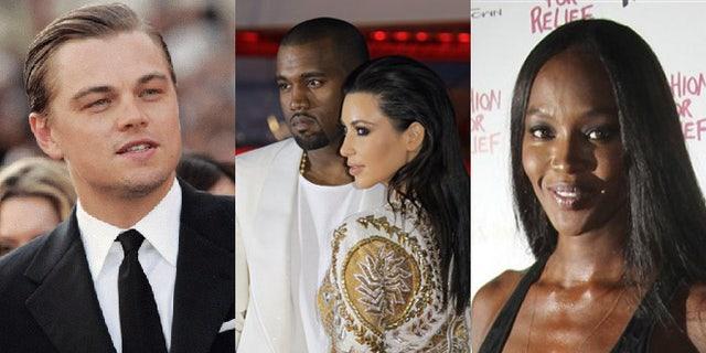 Leonardo DiCaprio, Kanye West, Kim Kardashian and Naomi Campbell