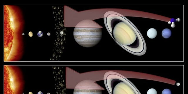 This artist's illustration shows two different hypotheses regarding the formation of Ceres. Top: Ceres formed in the main asteroid belt, and ammonia was incorporated from the solar system's outer reaches. Bottom: Ceres itself formed far from th