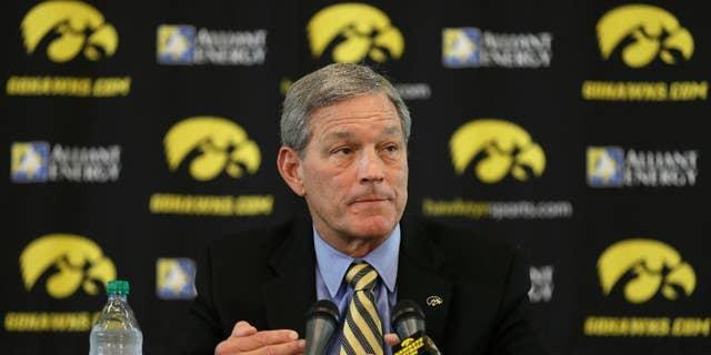 Iowa head coach Kirk Ferentz speaks to the media during Iowa's annual college football media day, Monday, Aug. 4, 2014, in Iowa City, Iowa. (AP Photo/Charlie Neibergall)